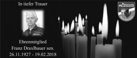 Ehrenmitglied Franz Draxlbauer sen. verstorben